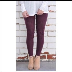 Pants - Burgundy Moto leggings with ankle zipper